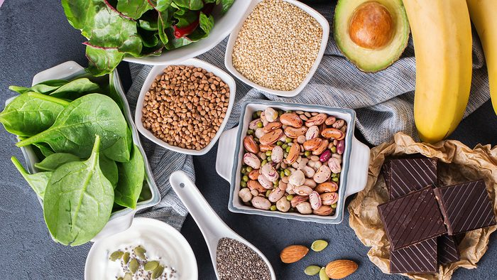 Benefits of Magnesium, variety of healthy food