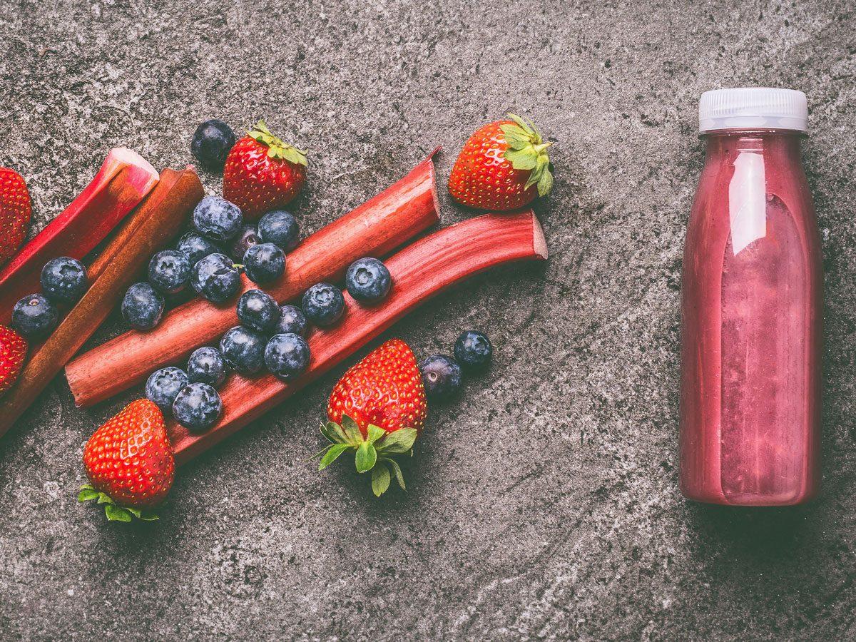strawberry recipes | strawberry rhubarb smoothie
