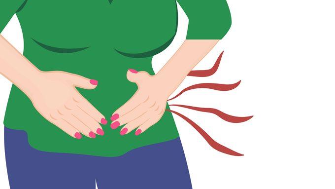 woman in pain ibs symptoms tummy stomach ache