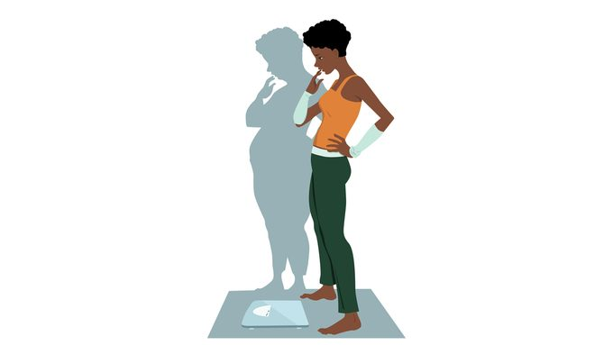 illustration of woman with eating disorder anorexia recovery