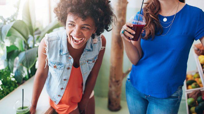 tasty healthy snacks | women having a smoothie