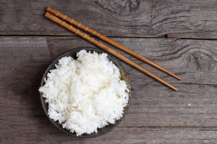 white rice and Chinese takeout