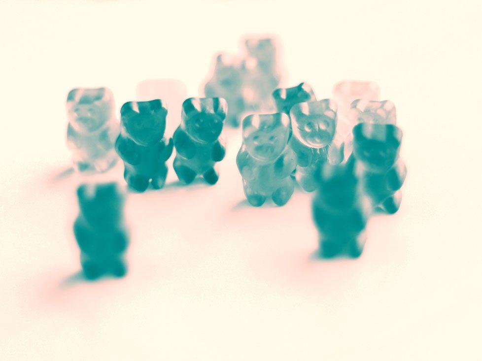 blue gummy bear looks like a hair supplement