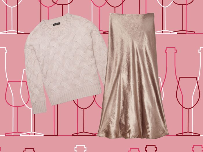 Shimmer skirt and cozy sweater