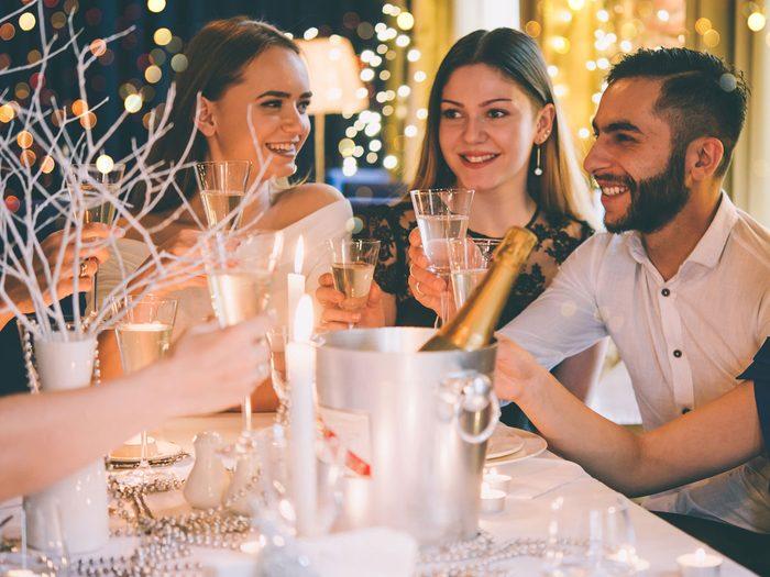Fight Holiday Stress, friends having dinner