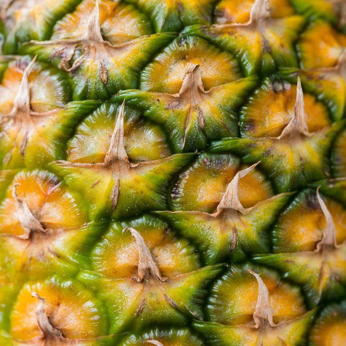 closeup of pineapple skin;