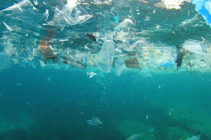 Plastic rubbish pollution in ocean environment