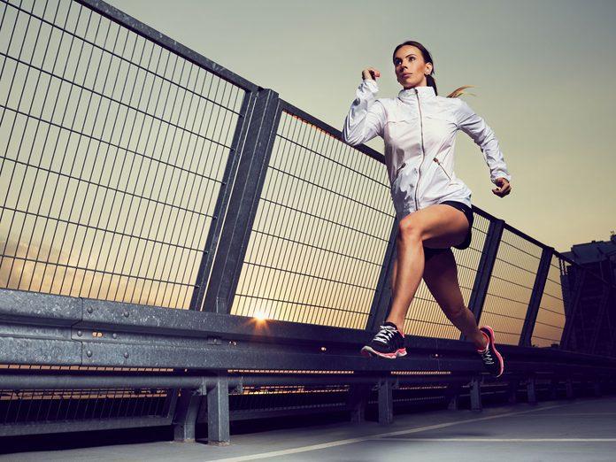 woman running night safety
