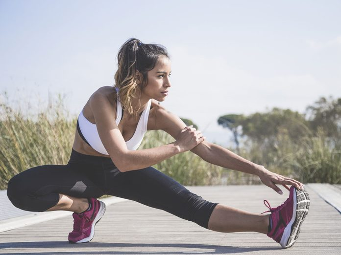 woman running stretch
