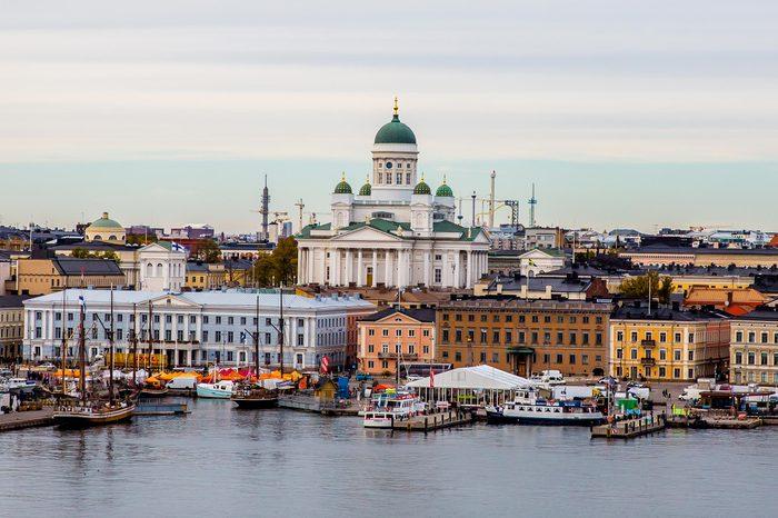 Helsinki cityscape with Helsinki Cathedral, Market Square (Kauppatori), Finland