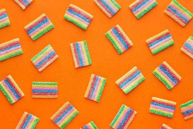 gummy sour candy pattern orange background