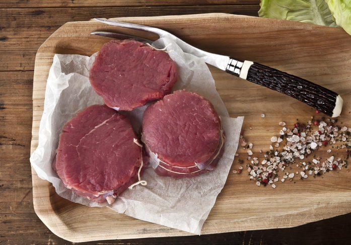 beaf bison filet mignon, fitness food, spicy ,butcher