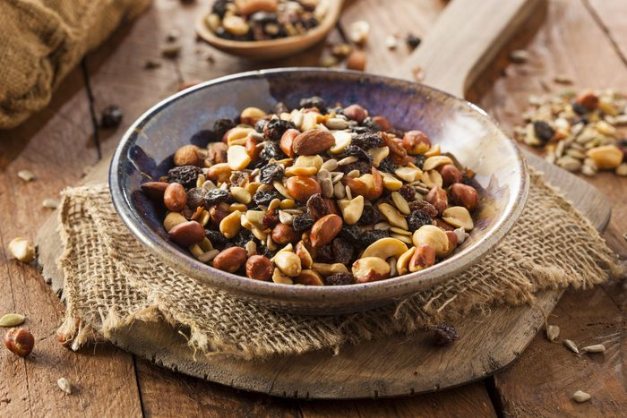 Raw Organic Homemade Trail Mix with Nuts and Fruits