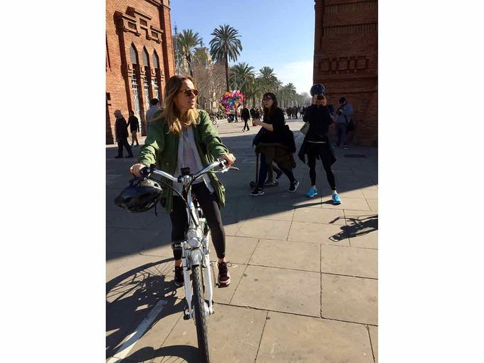 woman on bike in spain