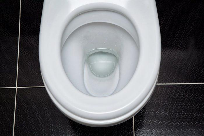 open white toilet top view