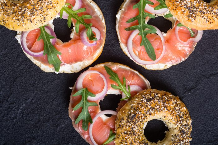 Homemade bagels with salmon , cream cheese and onion