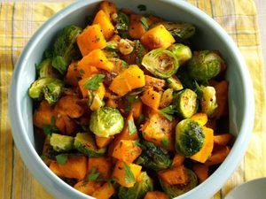 Roasted Pumpkin and Brussels Sprouts Make an Epic Fall Side Dish