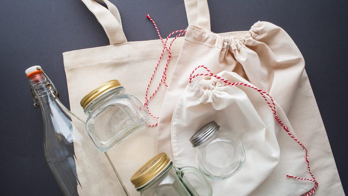cotton bags and glass gar for free plastic shopping