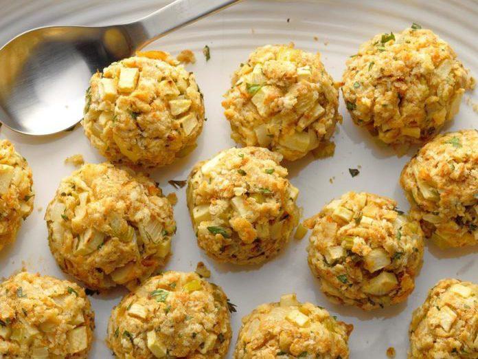 healthy thanksgiving recipes | apple stuffing balls