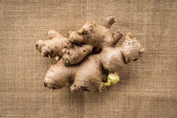 ginger root on burlap background