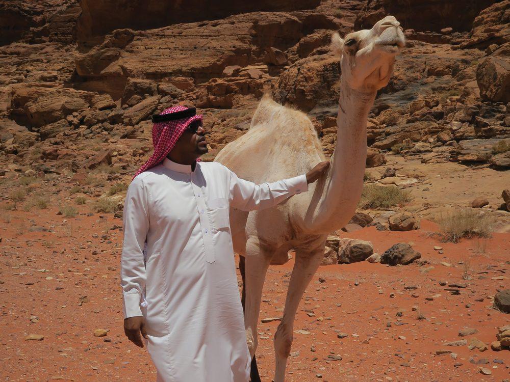 Millie - man and camel in Jordan