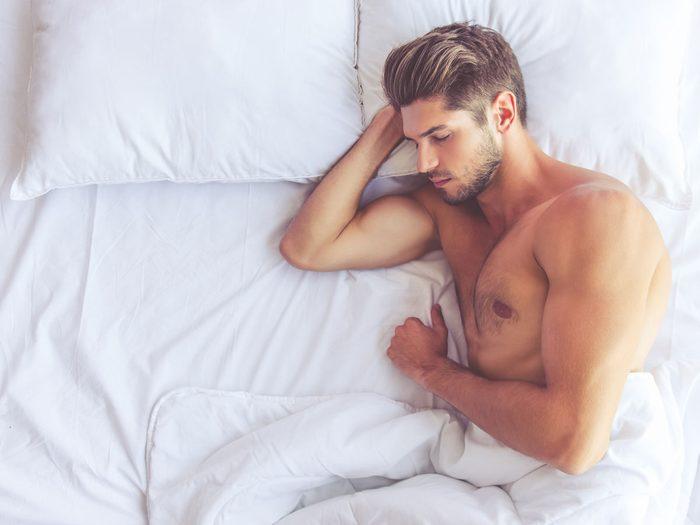 Sleeping naked - guy in bed