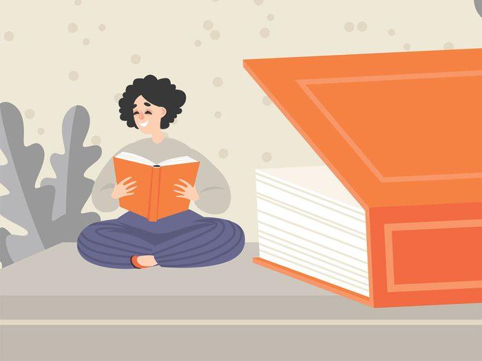 woman reading illustration