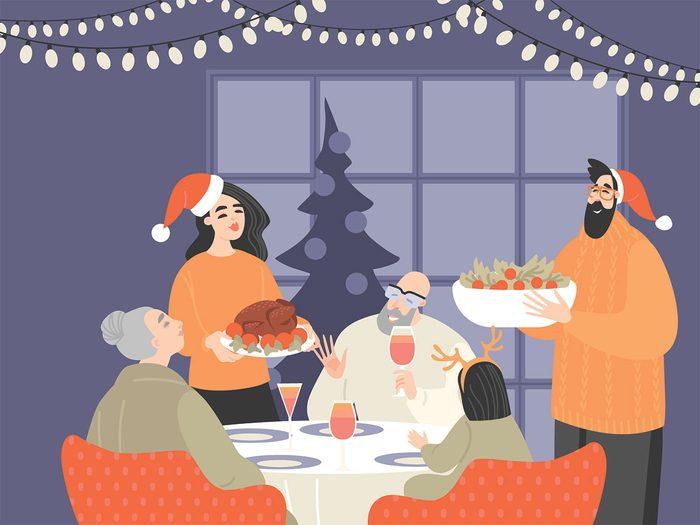 christmas dinner illustration