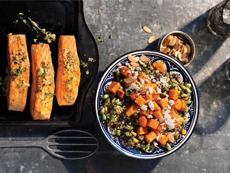 Healthy Weeknight Dinner Recipe | Roasted Salmon and Quinoa
