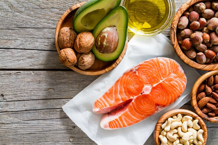 Selection of healthy fat sources, copy space