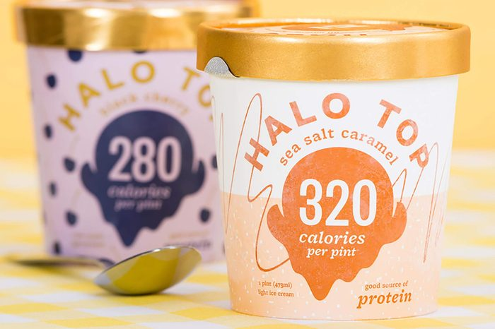 DALLAS, TEXAS - SEPTEMBER 15, 2017: Pint of Halo Top, high-protein, low-sugar and low-calorie Ice Cream in sea salt caramel flavor. The diet-friendly Halo Top Creamery ice cream was launched in 2012.
