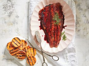 A Seasonal Twist on Fish and Chips: Cherry-Glazed Trout with Sweet Potato Coins