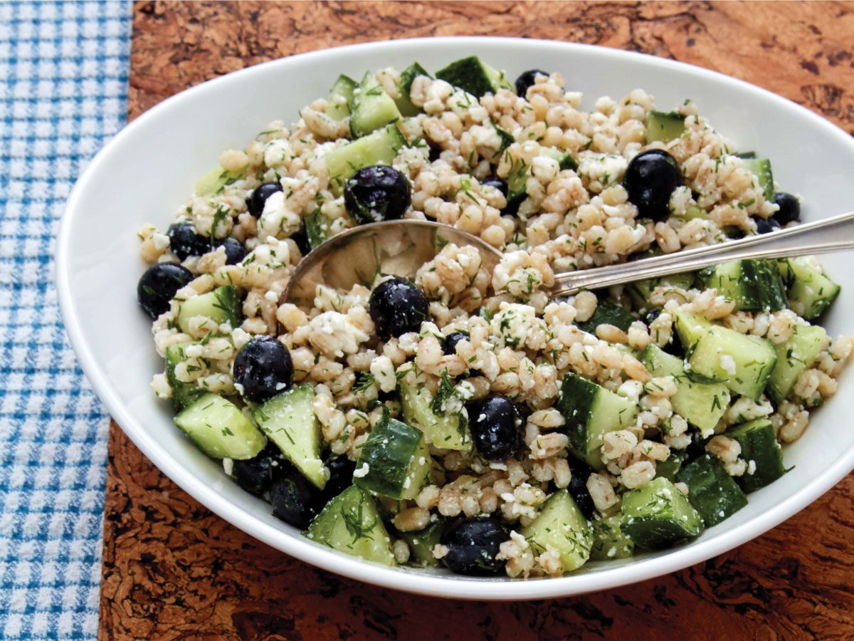 blueberry salad with barley and dill