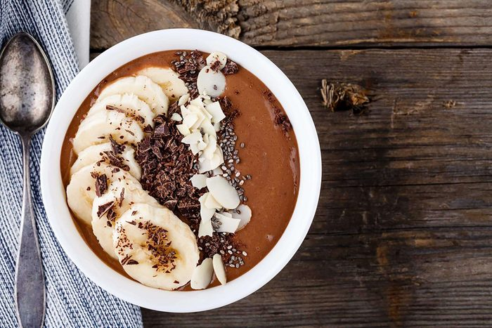 flaxseeds   smoothie bowl with banana
