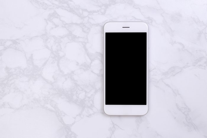 shouldn't be stored in the bathroom   White mockup smartphon on marble background