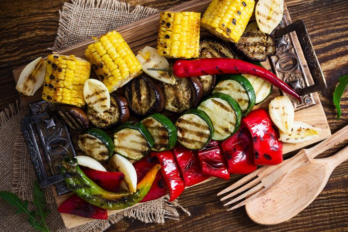 healthier grilling | grilled vegetables shot from above
