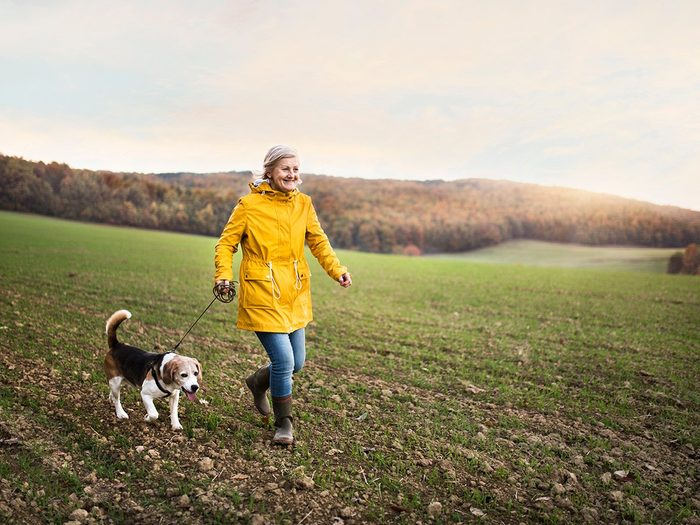 fitness after 50 | woman walking dog