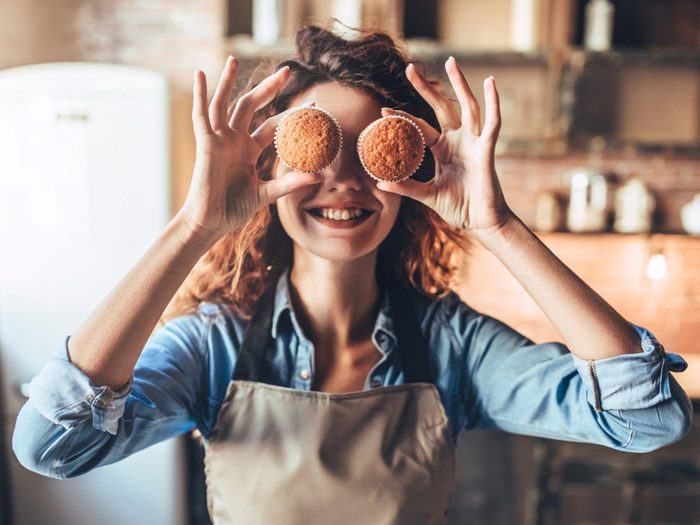 Happy woman baking