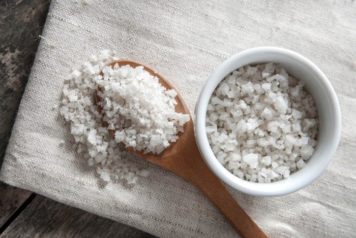 foods that lower your libido | coarse salt in a dish and on a spoon