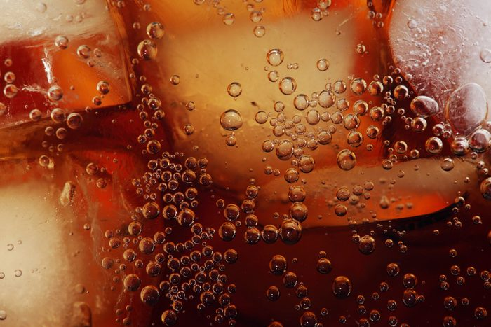 soda with ice full frame close up