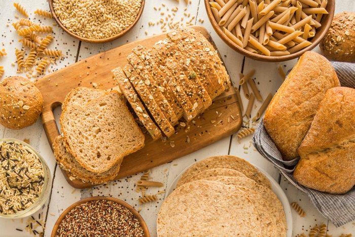 mediterranean diet   brown bread on cutting board
