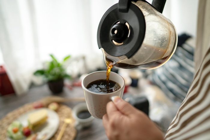 better night sleep | pouring coffee at breakfast