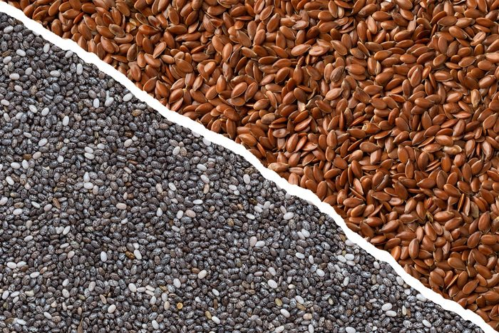 chia seeds and flaxseeds full frame