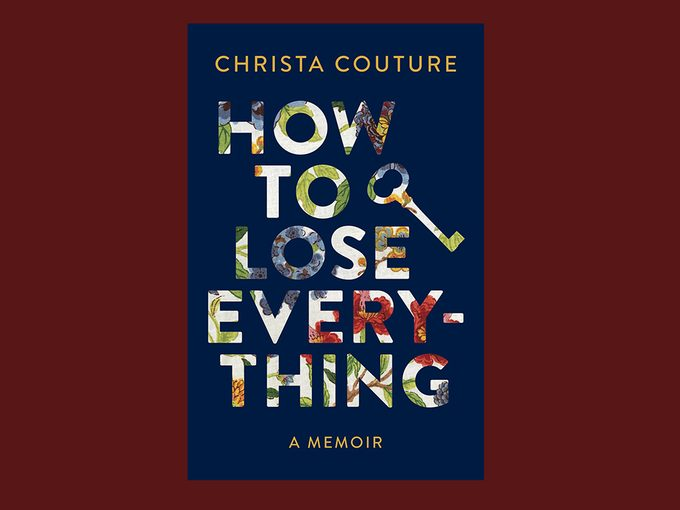how to lose everything christa couture excerpt | image of christa couture sitting on a couch and her book cover overlaid on top