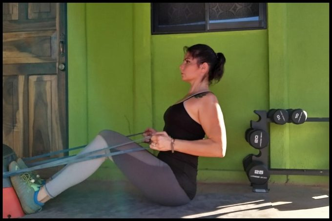 banded seated row arm exercise
