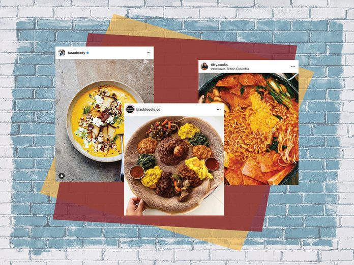 canadian food accounts   three instagram posts on top of a colourful backdrop