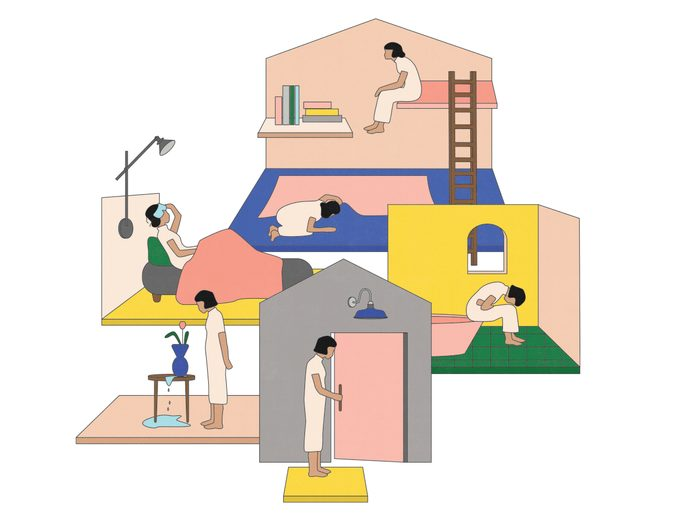 perimenopause   illustration of a house with women inside representing various symptoms of perimenopause