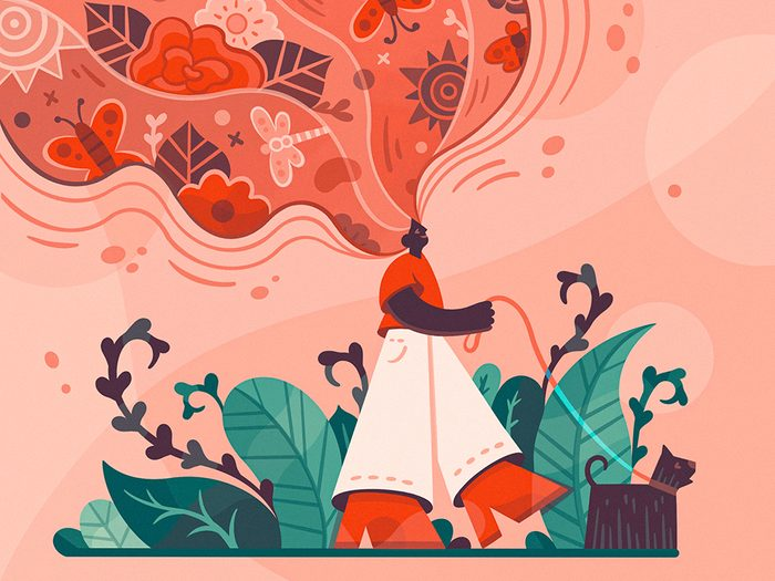 Awe Walking | illustration of a woman walking a dog with her mind expanding