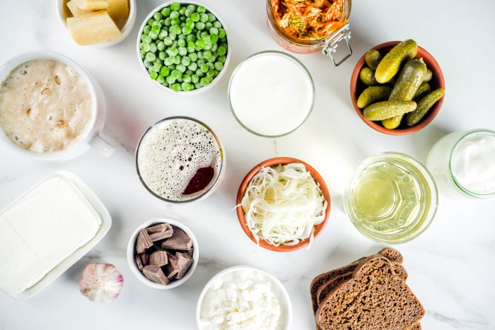 mind-gut connection   Super,healthy,probiotic,fermented,food,sources,,drinks,,ingredients,,on,white