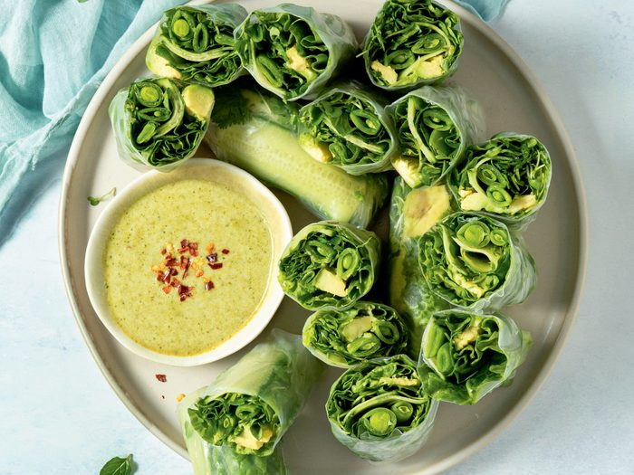 fresh rolls   All Green Fresh Rolls With Green W Curry Dipping Sauce